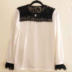 Karl Lagerfeld Long Sleeve Black White Lace Blouse